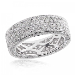 Avital & Co Jewelry 14k White Gold 4 Row 3.00 Tcw Round Brilliant Cut Diamond Eternity Wedding Band