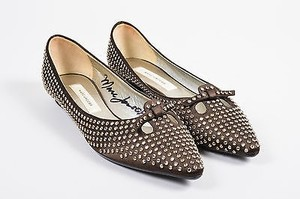 Marc Jacobs Limited Edition Signed Crystal Pointed Toe Mouse Brown Flats