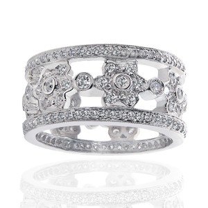 Avital & Co Jewelry 14k White Gold Designer Antique Eternity Wedding Ring 2.00 Ctw