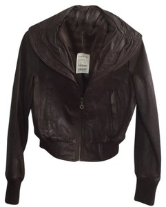 bebe Scalloped Chocolate Brown Leather Jacket