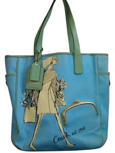Coach Tote in Teal & Green