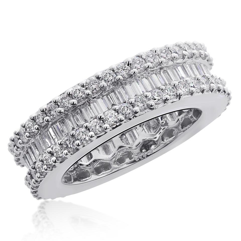 Avital & Co Jewelry 18k White Gold 3.42 Ct Baguette Round Cut ...