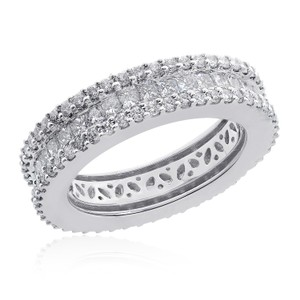 Avital & Co Jewelry 2.45 Carat 18k-w Princess & Round Brilliant Cut Diamond Eternity Band