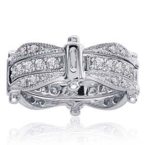 Avital & Co Jewelry 1.00 Carat Round Cut Diamond Antique Style Eternity Band 14k White Gold