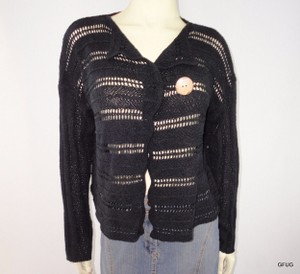 Other Colourworks Crochet Ribbon Knit Cardigan One Wooden Button Sweater