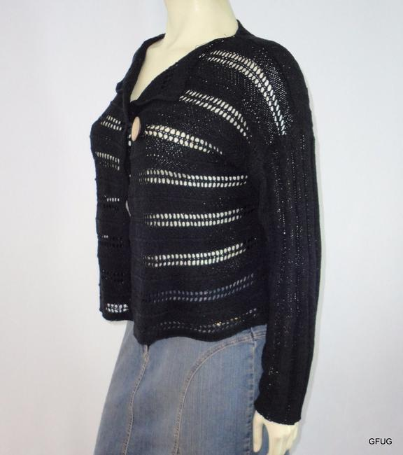 Other Colourworks Crochet Ribbon Knit Cardigan One Wooden Button Sweater Image 1