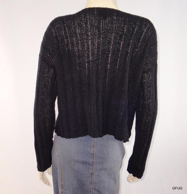 Other Colourworks Crochet Ribbon Knit Cardigan One Wooden Button Sweater Image 3