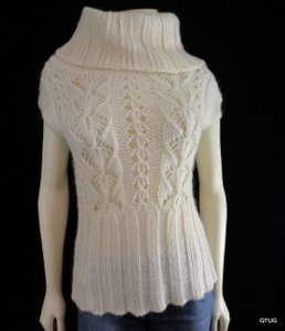 bebe Mohair Blend Knit Cowlneck Foldover Cap Sleeve Sweater
