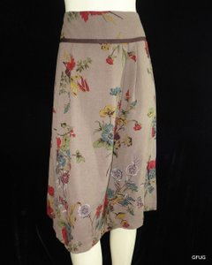 CAbi Floral Retro 40s Pleated Style 639 Skirt Brown
