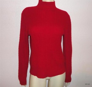 Charter Club Red 100 Cashmere Mock Turtleneck Braided Knit Sweater