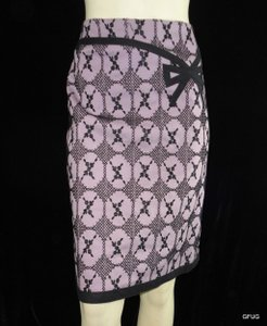 Nanette Lepore Lilac Black Floral Embroidered Pencil Bow Accent Skirt Purple