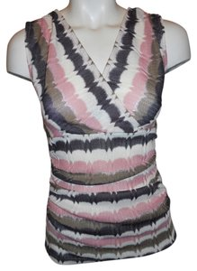 Ann Taylor Knit Sleevless Top pink, brown, cream & silver