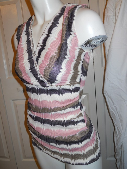Ann Taylor Knit Sleevless Top pink, brown, cream & silver Image 2