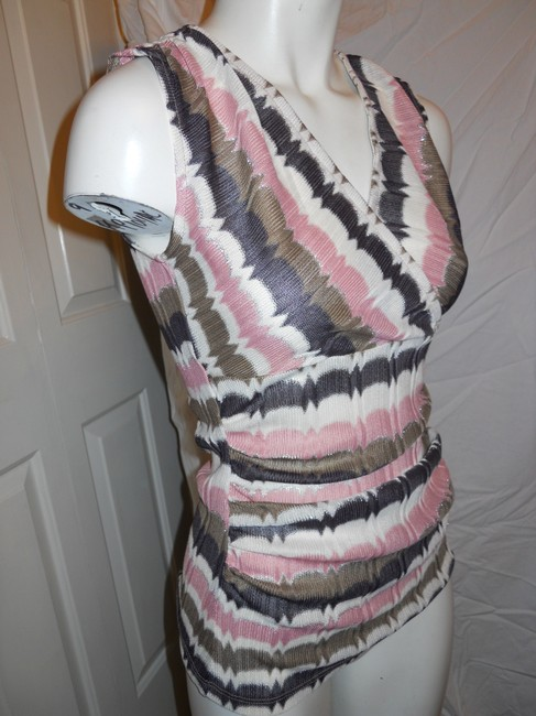 Ann Taylor Knit Sleevless Top pink, brown, cream & silver Image 3