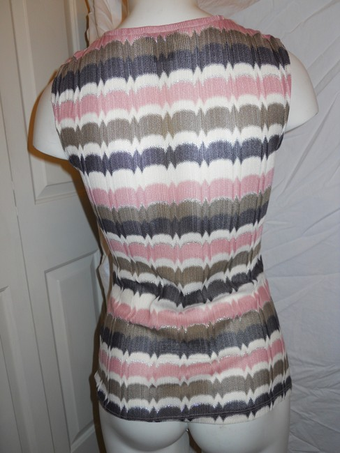 Ann Taylor Knit Sleevless Top pink, brown, cream & silver Image 4