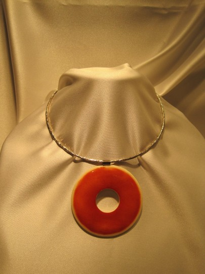 Other Ivory and Sterling Silver Hammered Necklace - [ Roxanne Anjou Closet ]