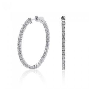 Avital & Co Jewelry 2.45 Carat Inside Out Diamond Hoop Earrings 14k White Gold
