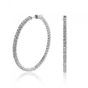 Avital & Co Jewelry 4.50 Carat Inside Out Diamond Hoop Earrings 14k White Gold