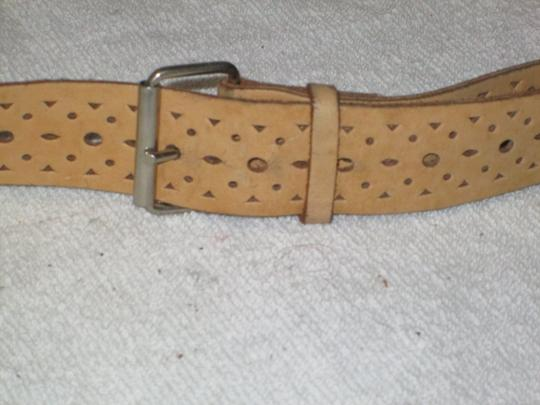 Other Mustard Pierced Leather Belt Image 1