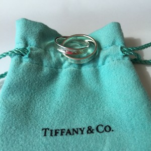 Tiffany & Co. Tiffany Silver 1837 Interlocking Double Ring with POUCH!!