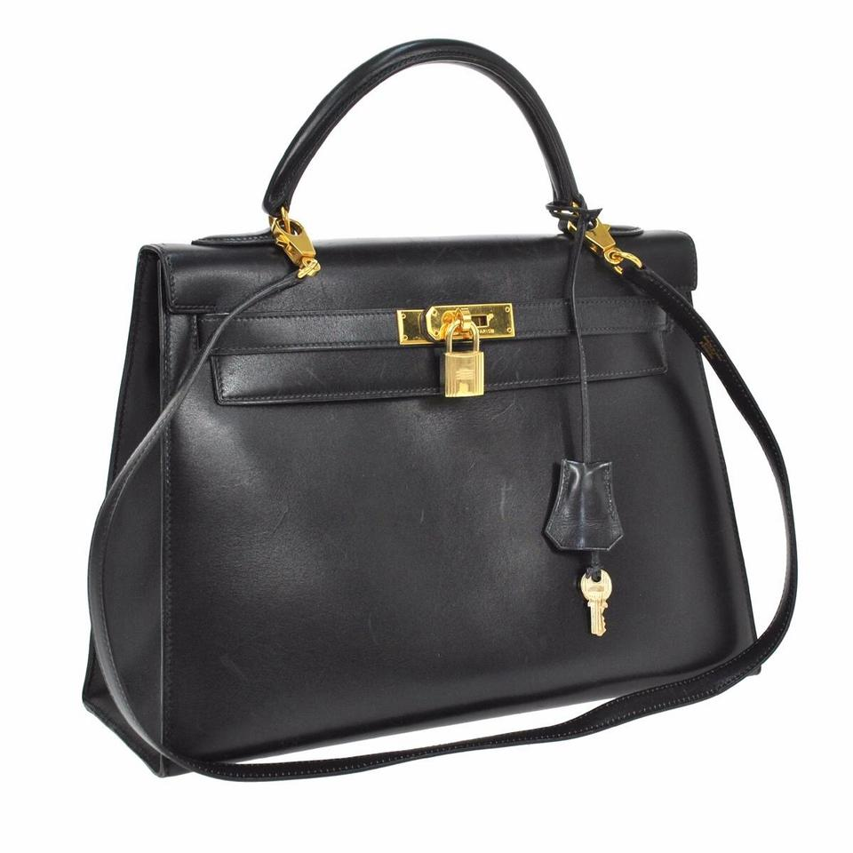 3aa79bb88e61 Hermès Kelly 32 Cm Black Leather Shoulder Bag - Tradesy