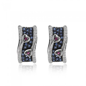 Avital & Co Jewelry Eye Catching Beautiful Earrings In Diamond Ruby And Tanzanite 14k White Gold