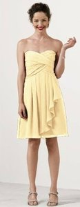 David's Bridal Canary/ Yellow Chiffon Short Crinkle Front Cascade F14847 Formal Bridesmaid/Mob Dress Size 4 (S)