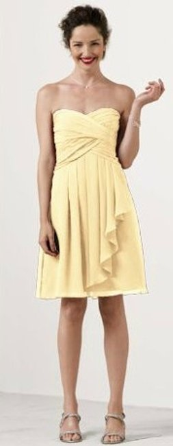 Item - Canary/ Yellow Chiffon Short Crinkle Front Cascade F14847 Formal Bridesmaid/Mob Dress Size 4 (S)
