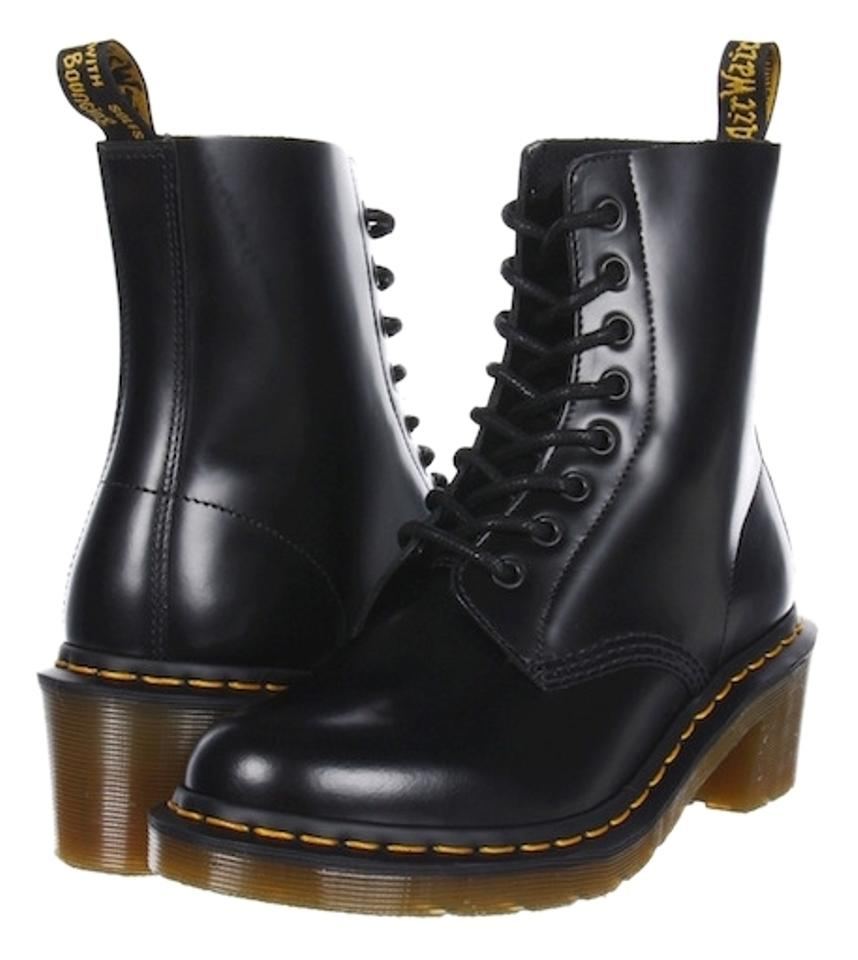 55e829056b8 Dr. Martens 8-hole Premium Leather Mid-heel Combat Work Smooth Black Boots  ...