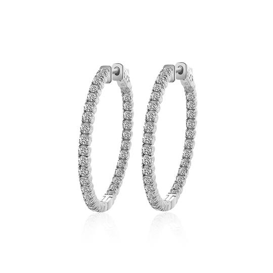 Avital & Co Jewelry 14k White Gold 3.25 Ct Round Cut Diamond Inside/Outside Hoop Earrings Image 0
