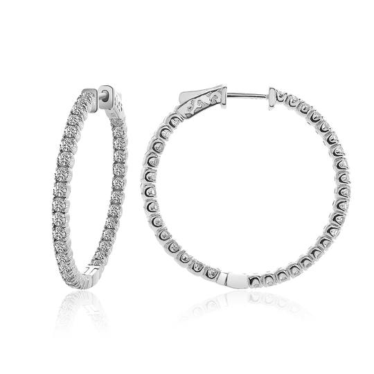 Avital & Co Jewelry 14k White Gold 3.25 Ct Round Cut Diamond Inside/Outside Hoop Earrings Image 1