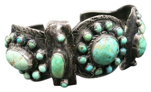 Turquoise Cluster bracelet Cuff Navajo Sterling silver