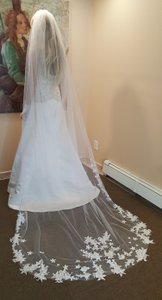 White Lace Cathedral Veil With Comb