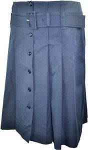 Prada Pleated Cotton Skirt Blue