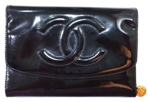 Chanel Authentic Chanel Classic Large CC Stitching Flap Black Patent Leather Wallet