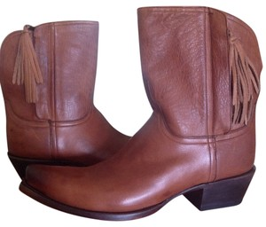 Lucchese Calfskin Leather Ankle Boot Tan Boots