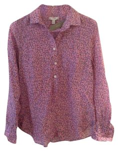 J.Crew Business Casual Blouse Silk Button Down Shirt Floral