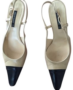 Bruno Magli beige and black tips Pumps