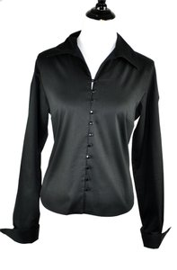 Anne Fontaine Classic Blouse Button Down Shirt Black