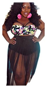 Other New Black Sexy Plus Size 2 PC Floral Top Skirt Bottom Bathing Suit Tag Sz XXXL (Fits US 14-16)