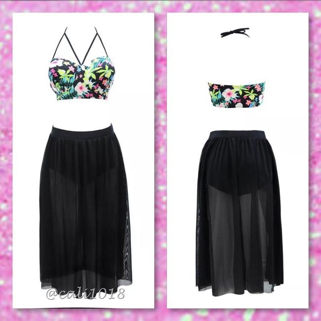 Other New Black Sexy Plus Size 2 PC Floral Top Skirt Bottom Bathing Suit Tag Sz XXXL (Fits US 14-16) Image 1