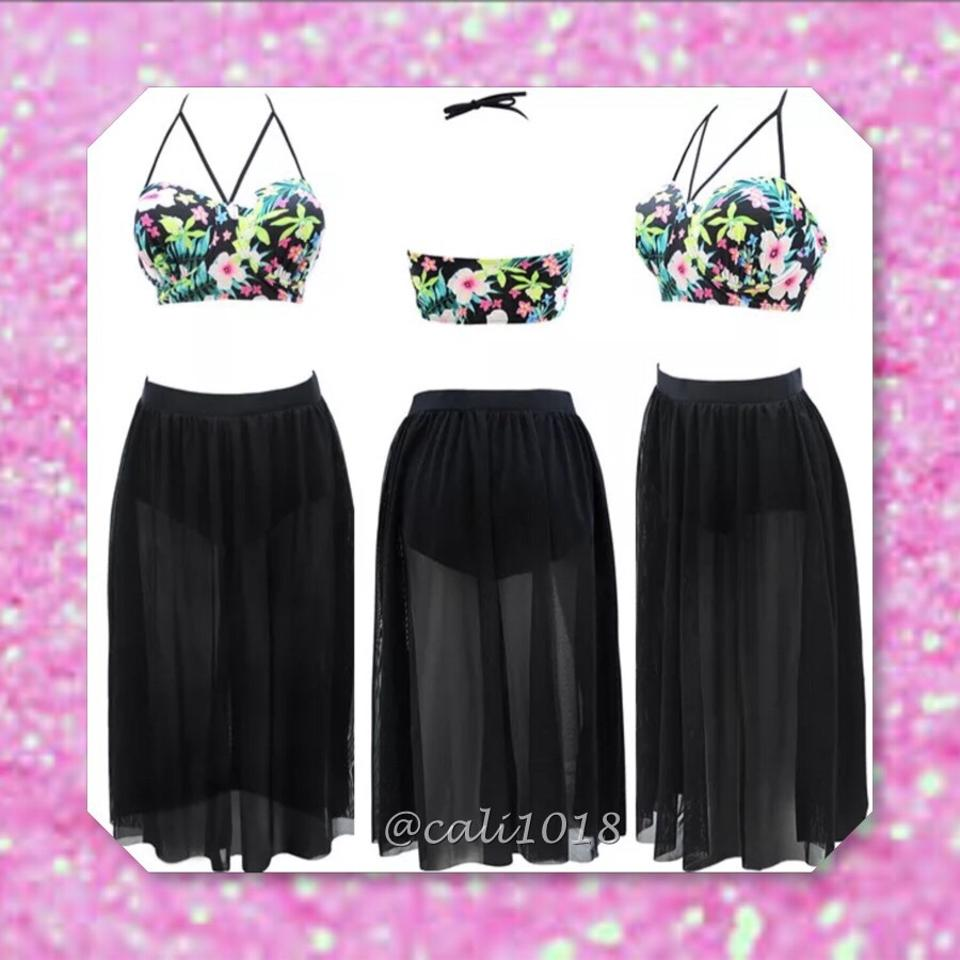1a78d5076b39e Other New Black Sexy Plus Size 2 PC Floral Top Skirt Bottom Bathing Suit Tag  Sz. 1234
