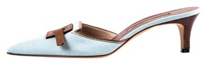 Manolo Blahnik Powder Blue and Brown Mules