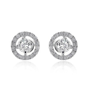 Avital & Co Jewelry 1.20 Round Cut Diamond Halo Stud Earrings 18k White Gold