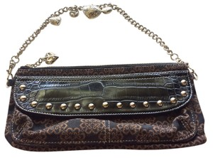Kathy Van Zeeland Studded Faux Croc Leather Black and Brown Clutch