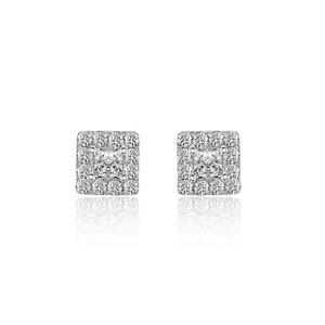 Avital & Co Jewelry 0.77 Carat Princess And Round Cut Diamond Stud Earrings 14k White Gold