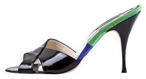 Brian Atwood Black, Blue, and Green Mules