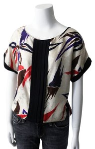 Yumi Kim Silk Cant Sleeve Silk Jacquard Silk Top Black, Cream, Orange, Brown, Purple, Multi, Print