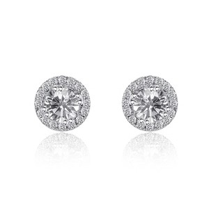 Avital & Co Jewelry 0.47 Carat Round Halo Diamond Stud Earrings 14k White Gold