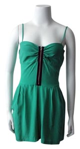 Yumi Kim Silk Romper Romper Silk One-piece Silk Summer Jumpsuit Board Shorts Green